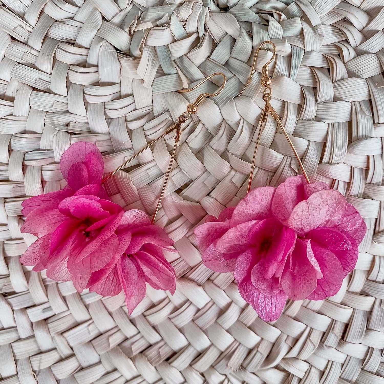 Boucles d oreilles fleurs éternelles Cénélia Martinique - Petite Caye