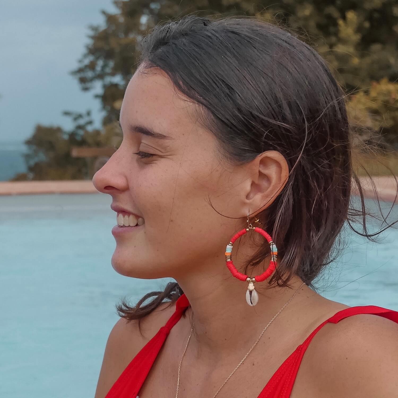 Boucles d'oreilles Cénélia Martinique - Moana rouge
