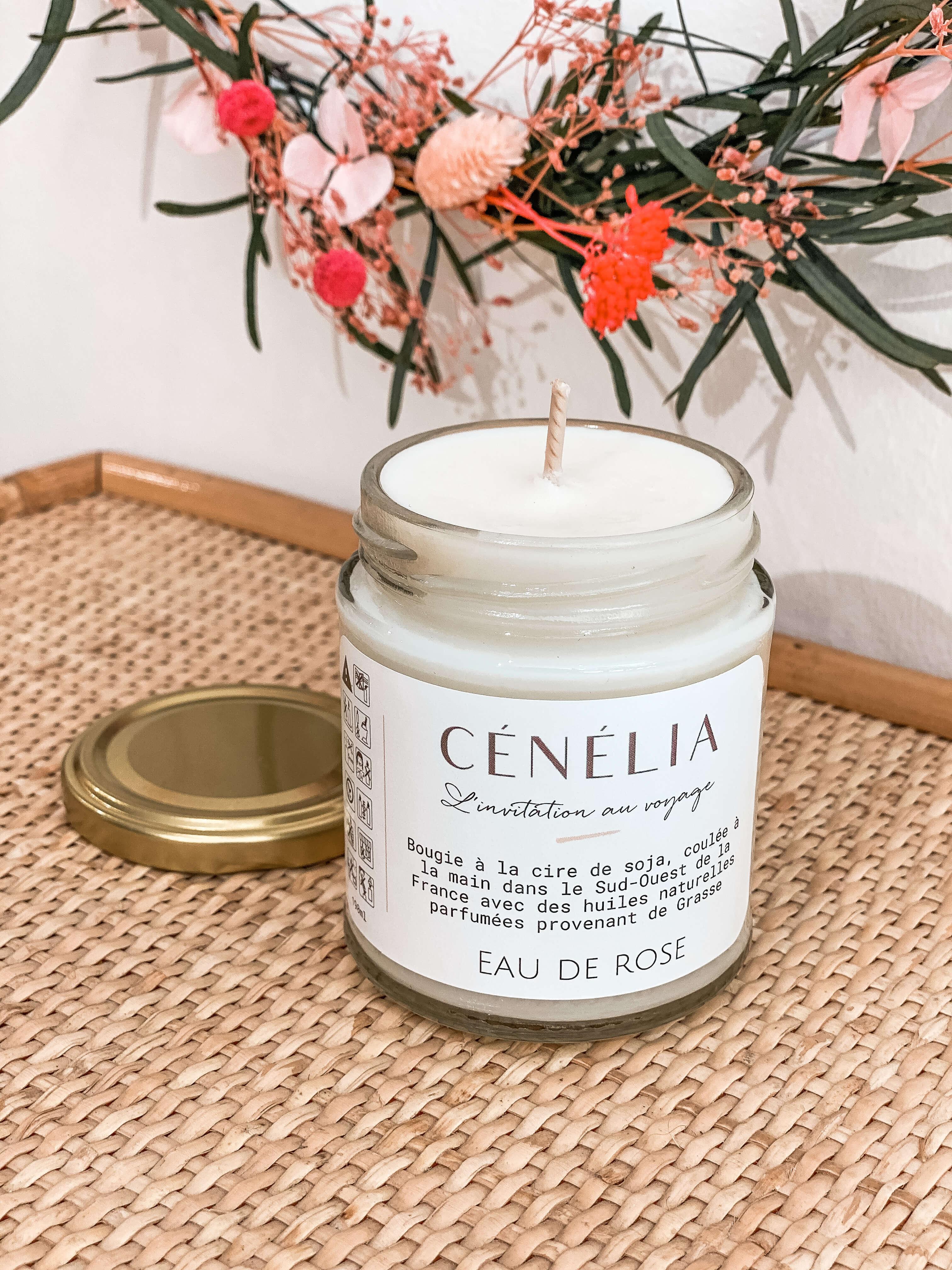 Bougie à la rose Cénélia - bougie naturelle cire de soja