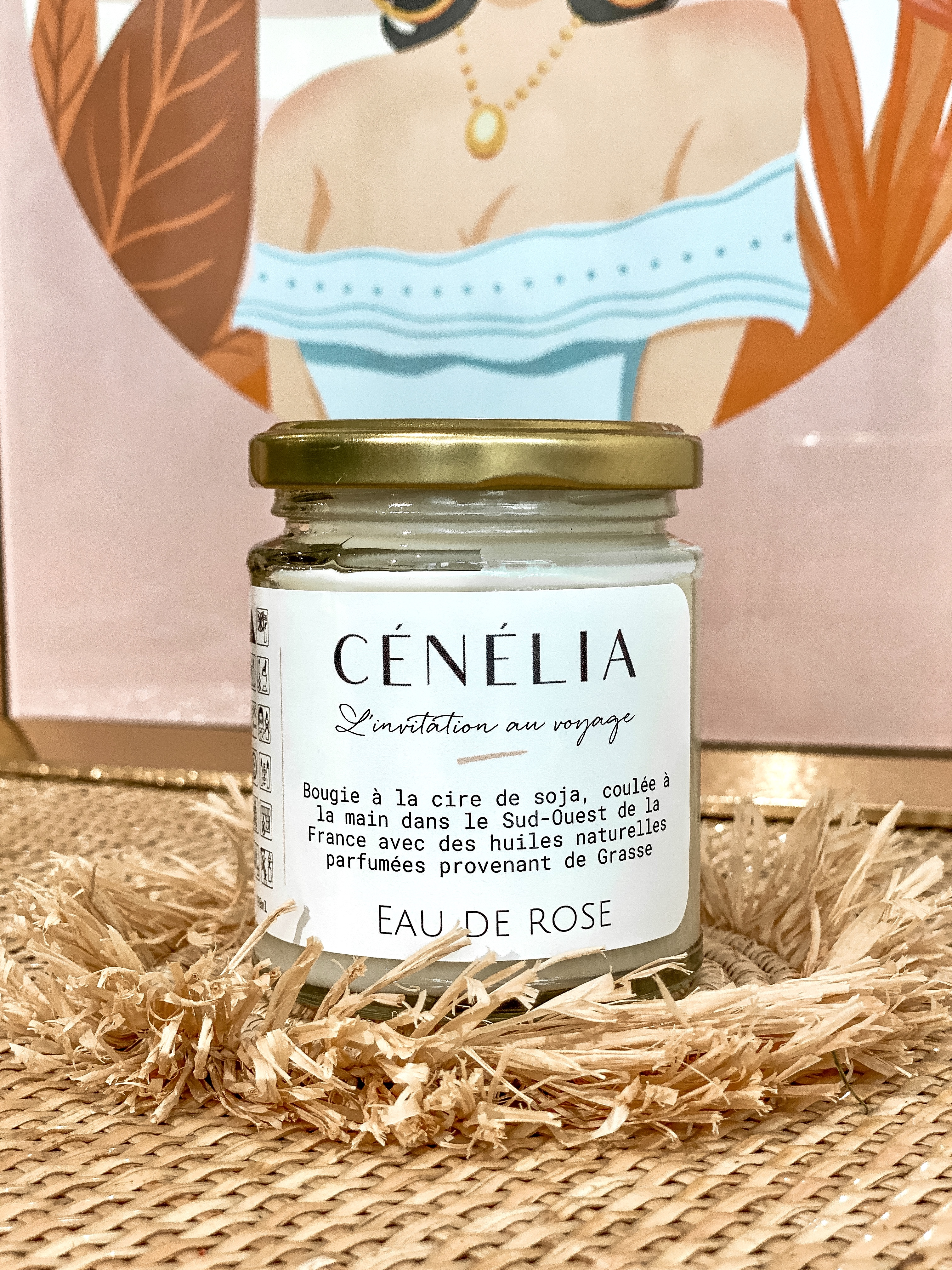 Bougie à la rose Cénélia | bougie naturelle parfumée