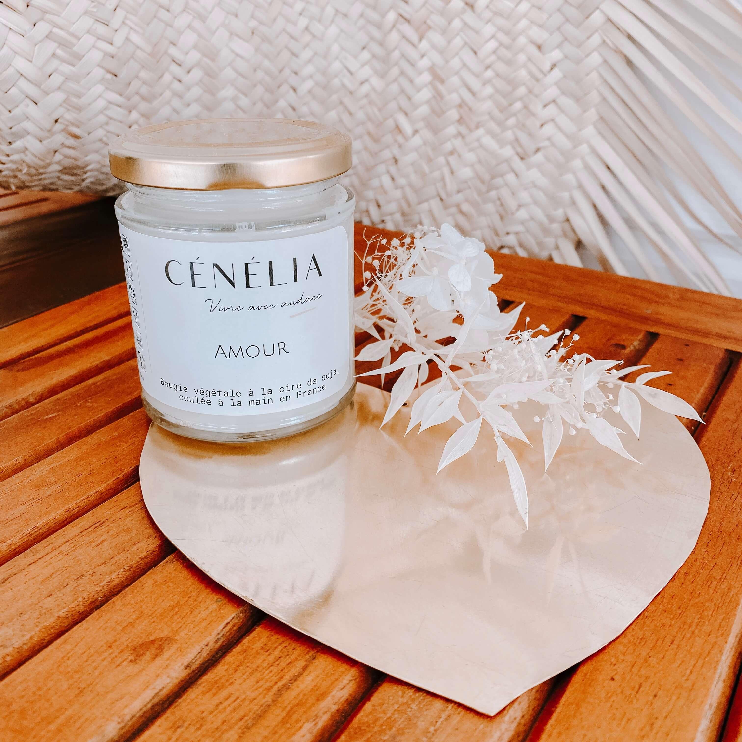 Bougie Amour - bougie naturelle légère Cénélia