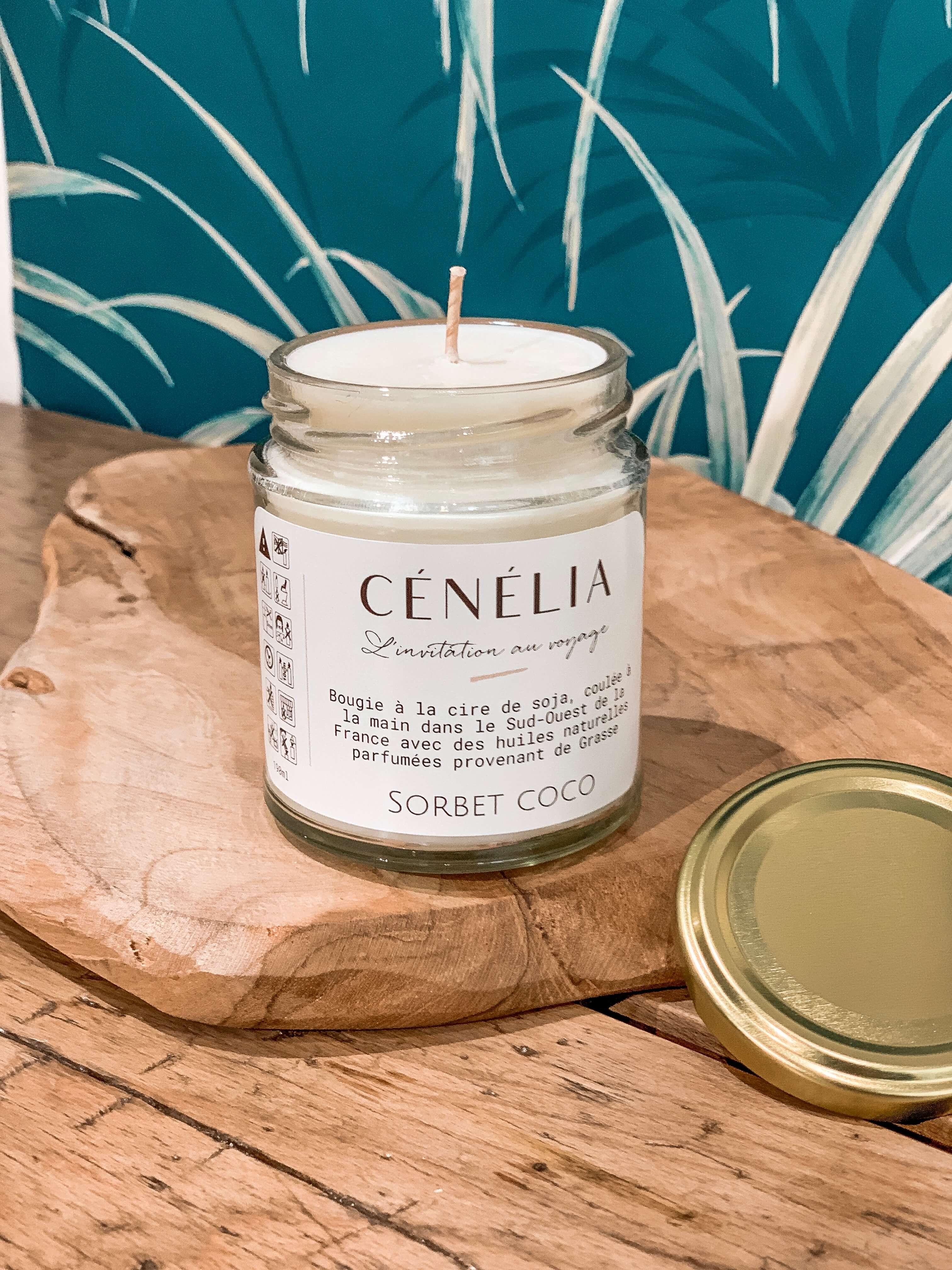 Bougie naturelle et parfumée - Bougie cire de soja bio Cénélia