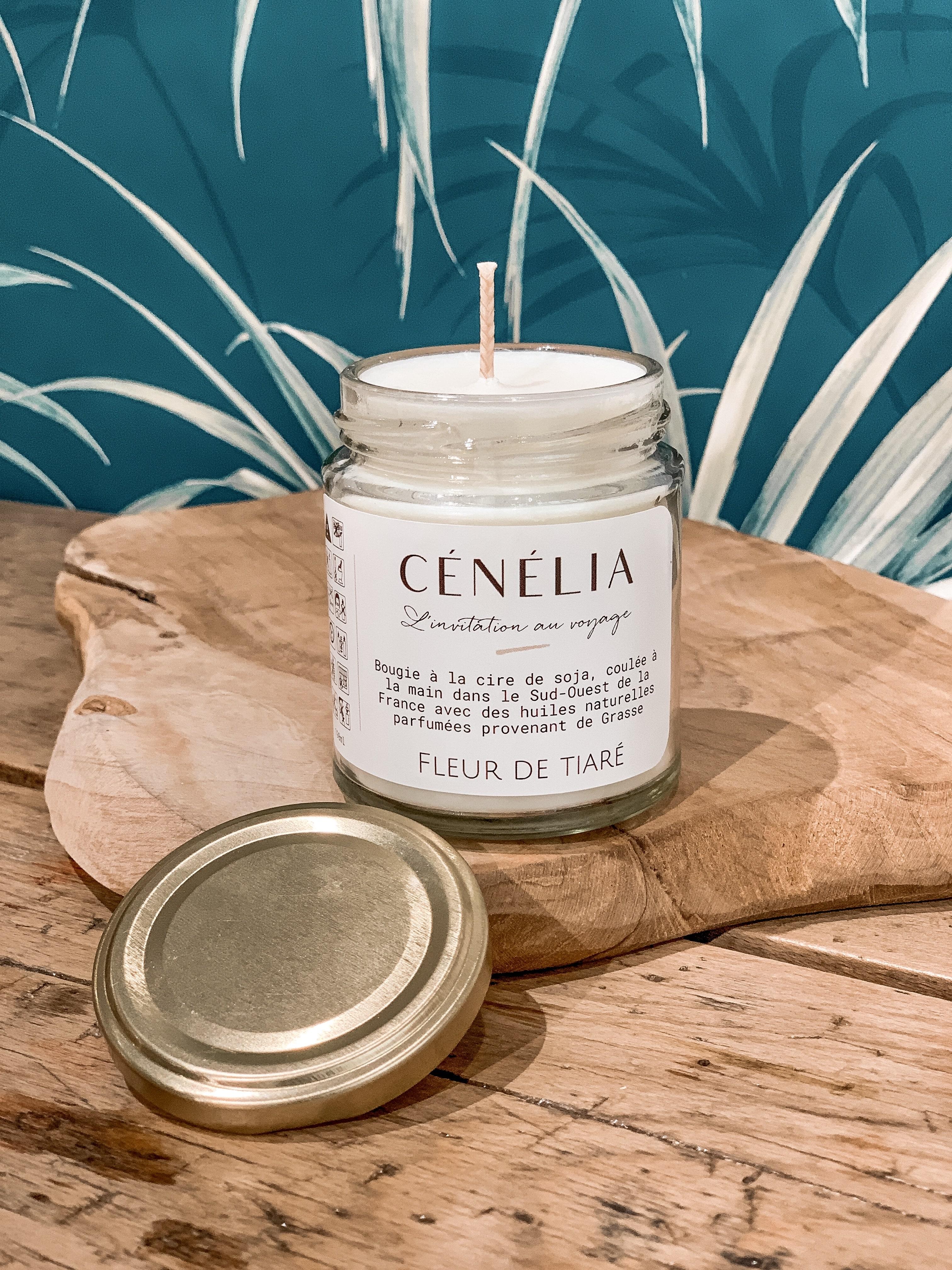 Bougie naturelle parfumée - Bougie soja bio - Cénélia - Fleur de Tiaré