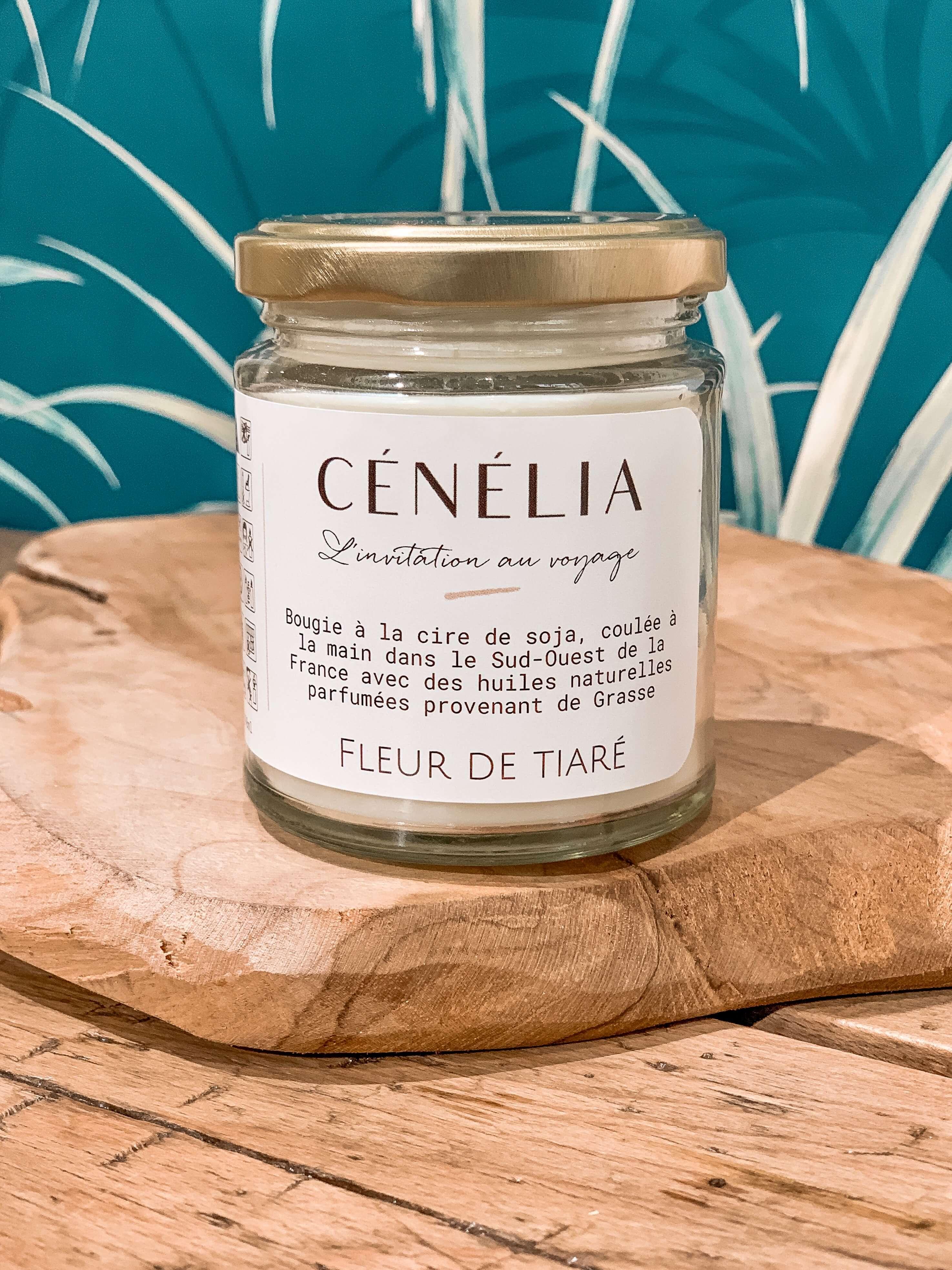 Bougie naturelle parfumée - Bougie soja bio Cénélia - Fleur de Tiaré
