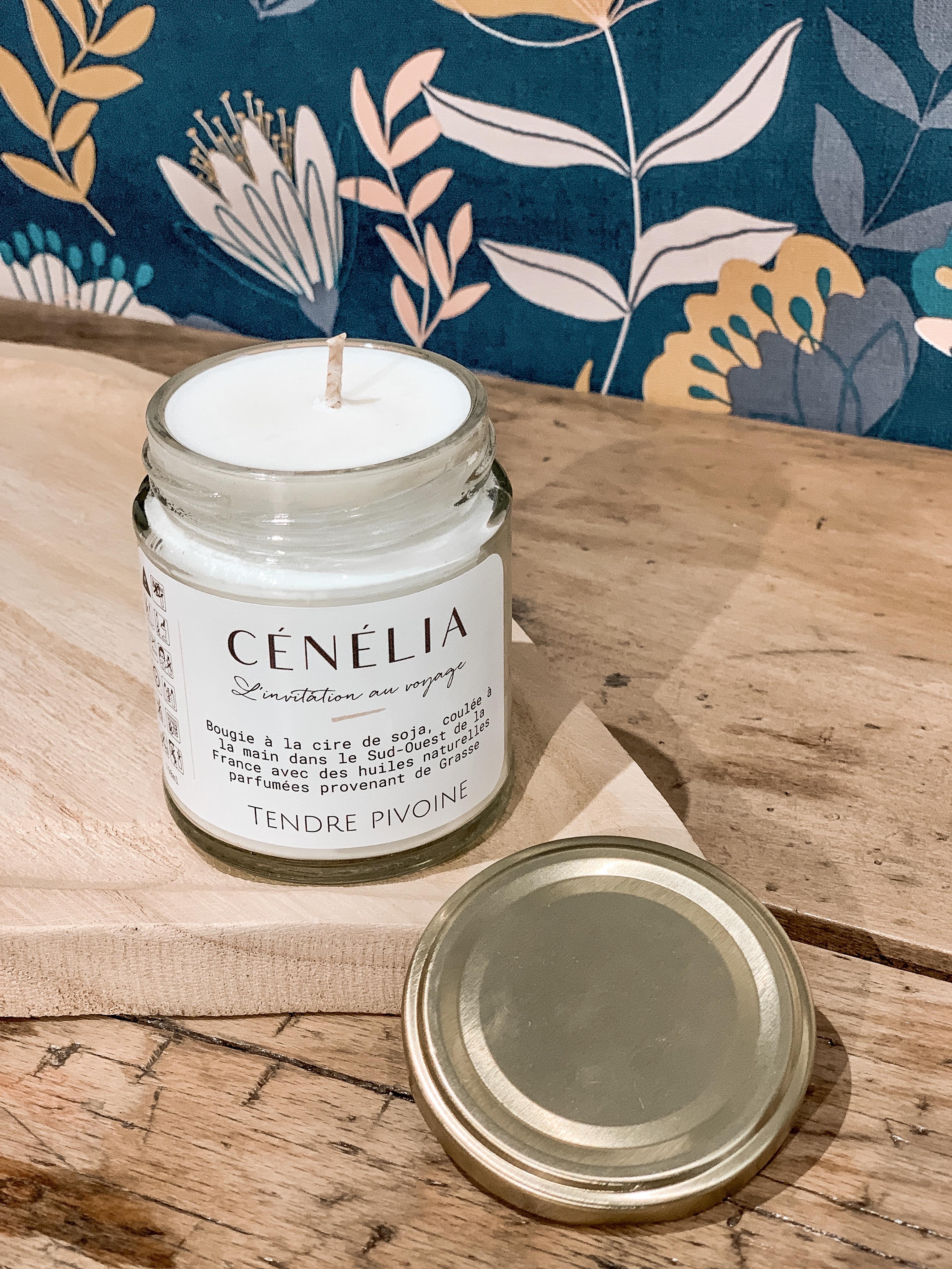 Bougie parfumée naturelle Cénélia - Bougie Tendre Pivoine