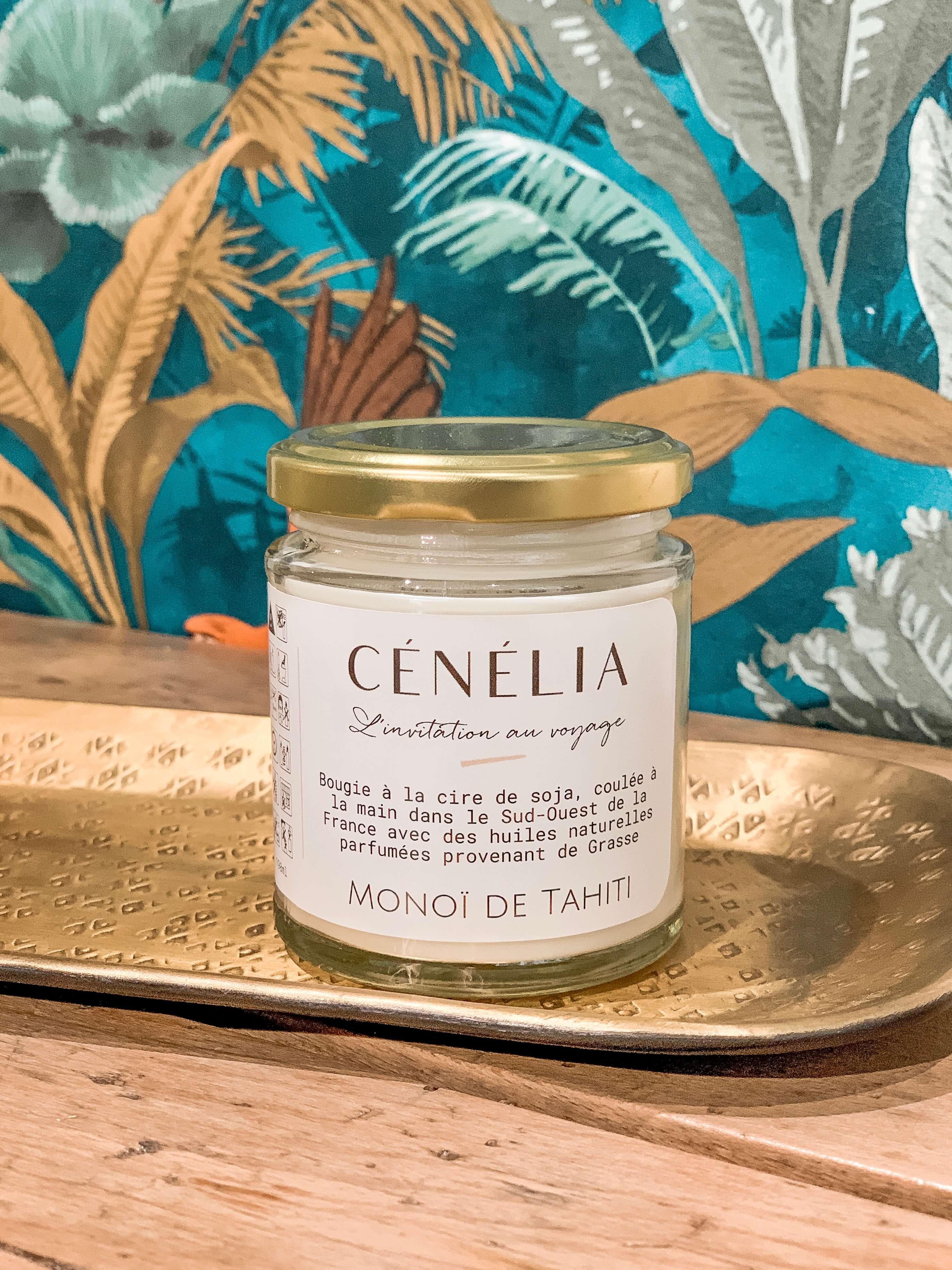 Bougie vegan - Bougie naturelle bio Cénélia - Monoï de Tahiti