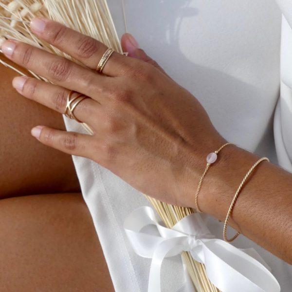 Bracelet Emma quartz rose - Jonc Claire - Cénélia bijoux femme