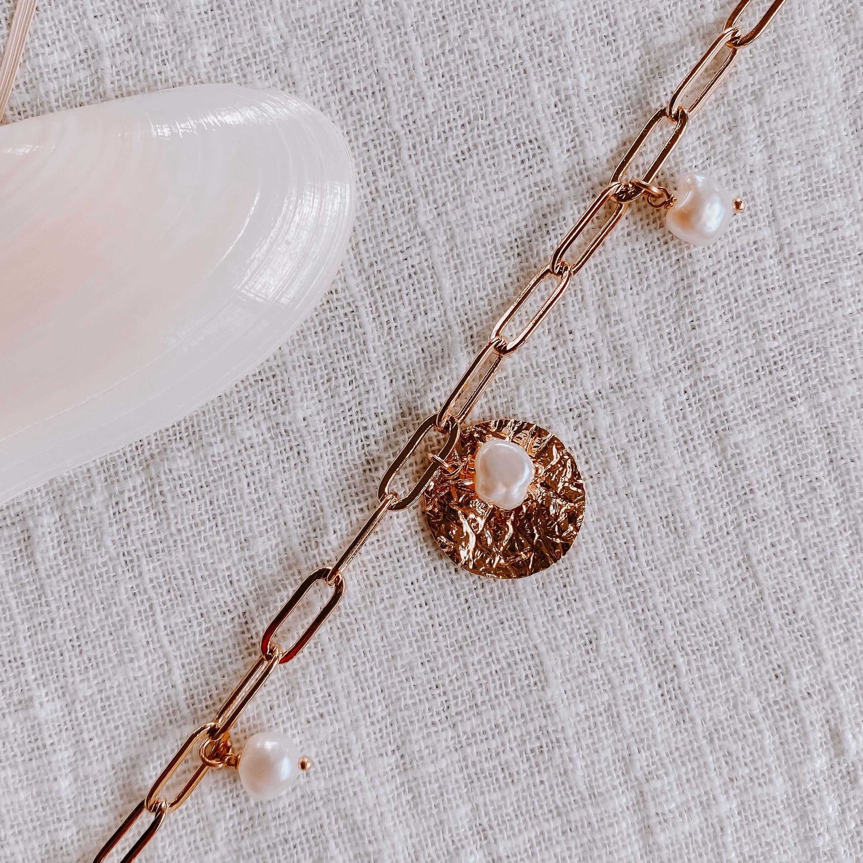 Bracelet Perla - Bracelet grosse maille rectangle perles - Cénélia
