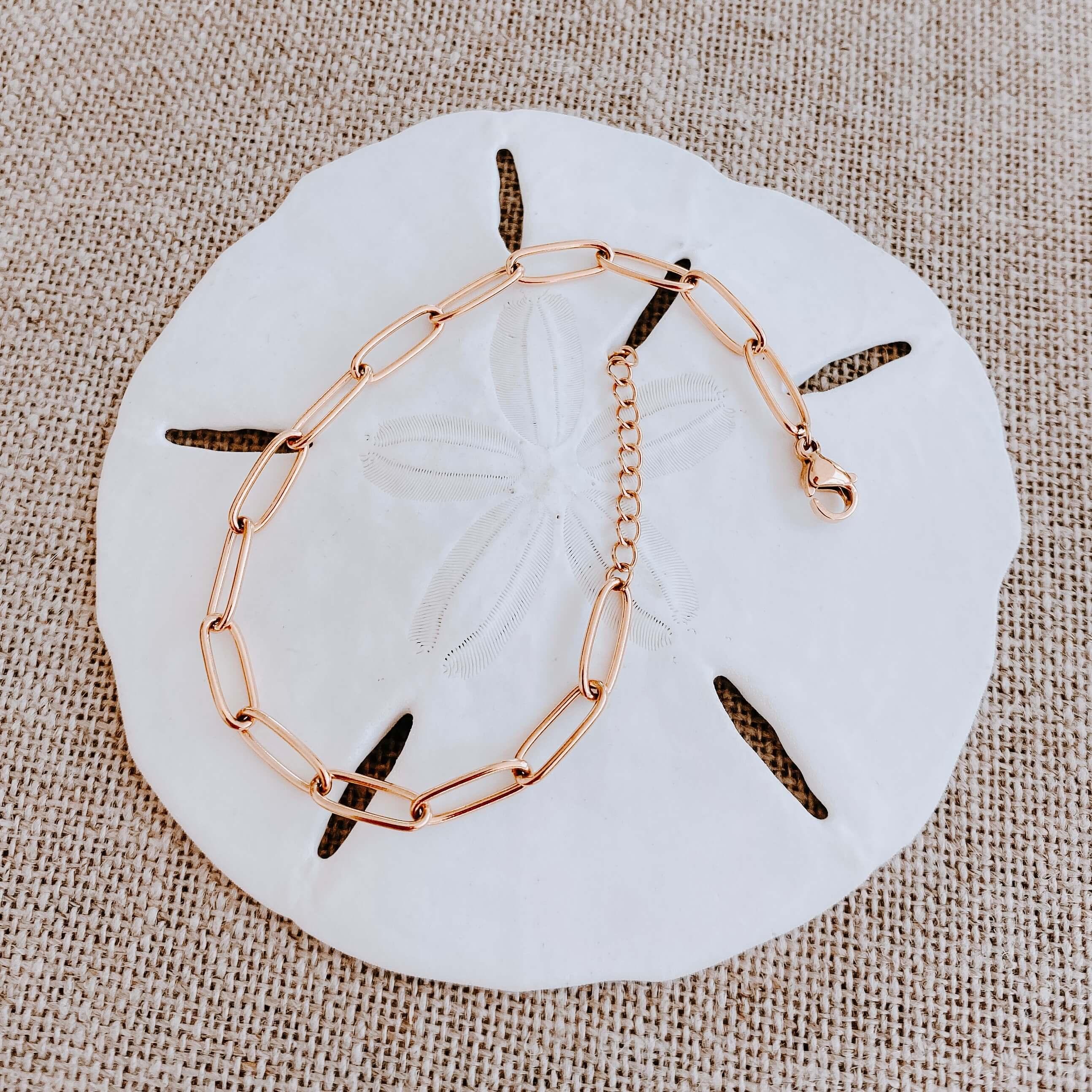 Bracelet maille rectangle Éva - bracelet acier doré Cénélia