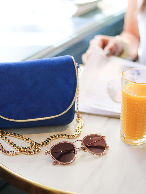 Cénélia - Petit sac en cuir bleu - sac à main mode Zoé