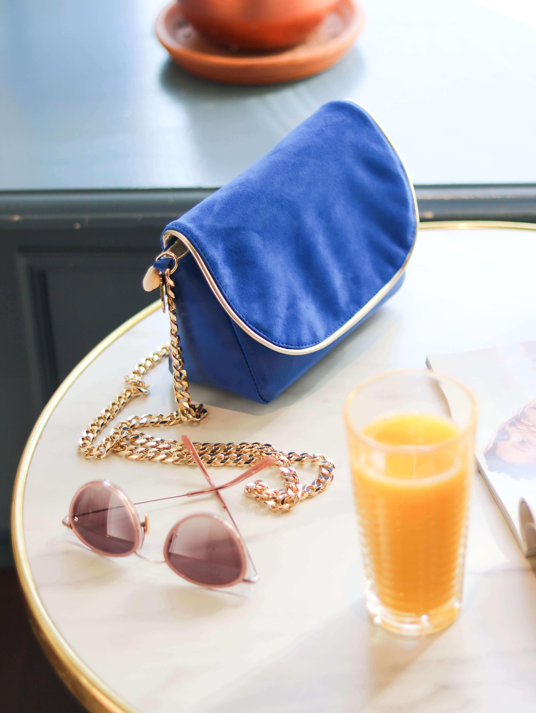 Cénélia - Petit sac en cuir bleu - sac bandoulière femme Zoé