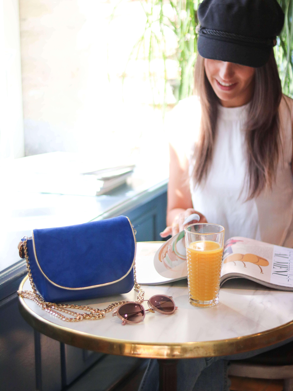 Cénélia - Petit sac en cuir bleu - sac femme fabriqué en France Zoé