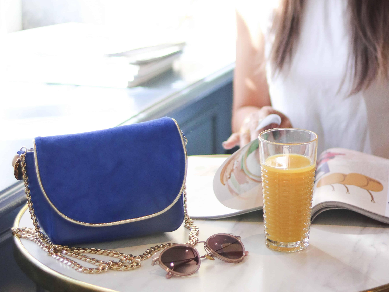 Cénélia | Petit sac en cuir bleu | sac mode femme Zoé