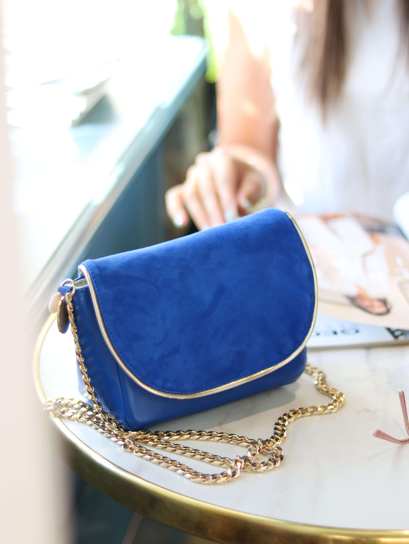 Cénélia - Petit sac en cuir bleu - sac tendance femme Zoé