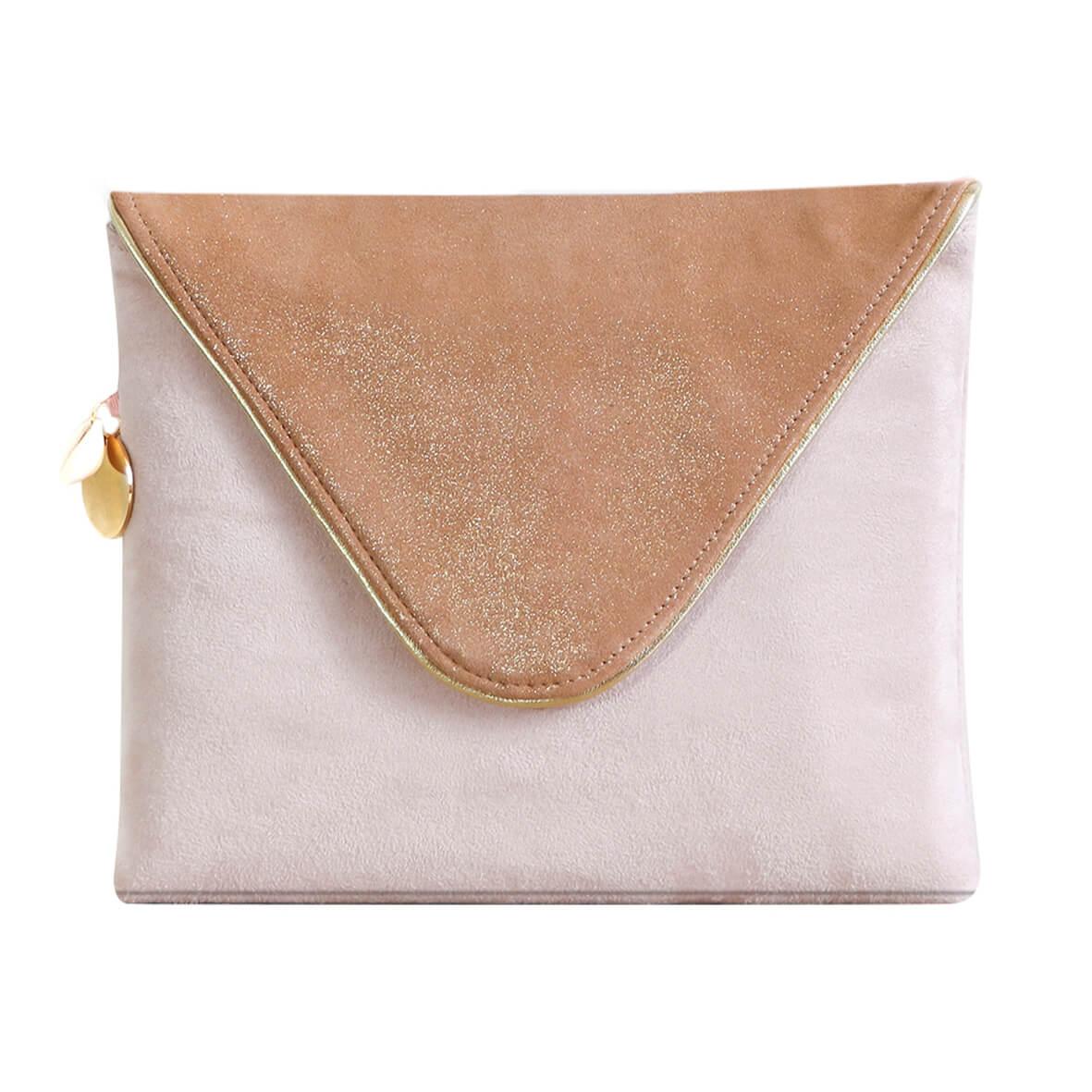 Cénélia - Pochette en cuir rose Lola - pochette mariage - pochette cérémonie - pochette femme soirée