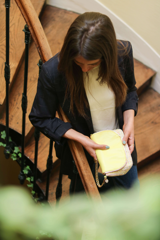 Cénélia - petit sac en tweed et cuir Chloé - sac femme jaune