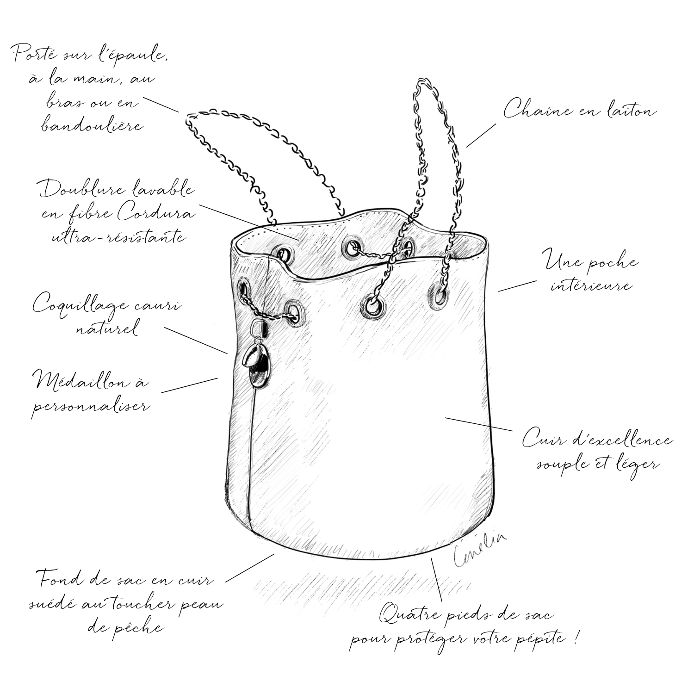 Cénélia | sac seau en cuir | maroquinerie française