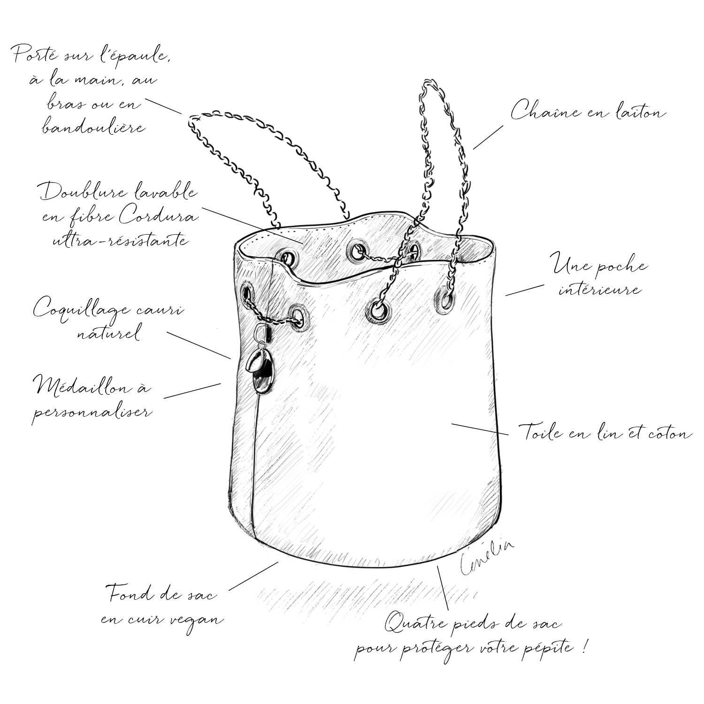 Cénélia | sac seau en cuir vegan | maroquinerie fabrication française
