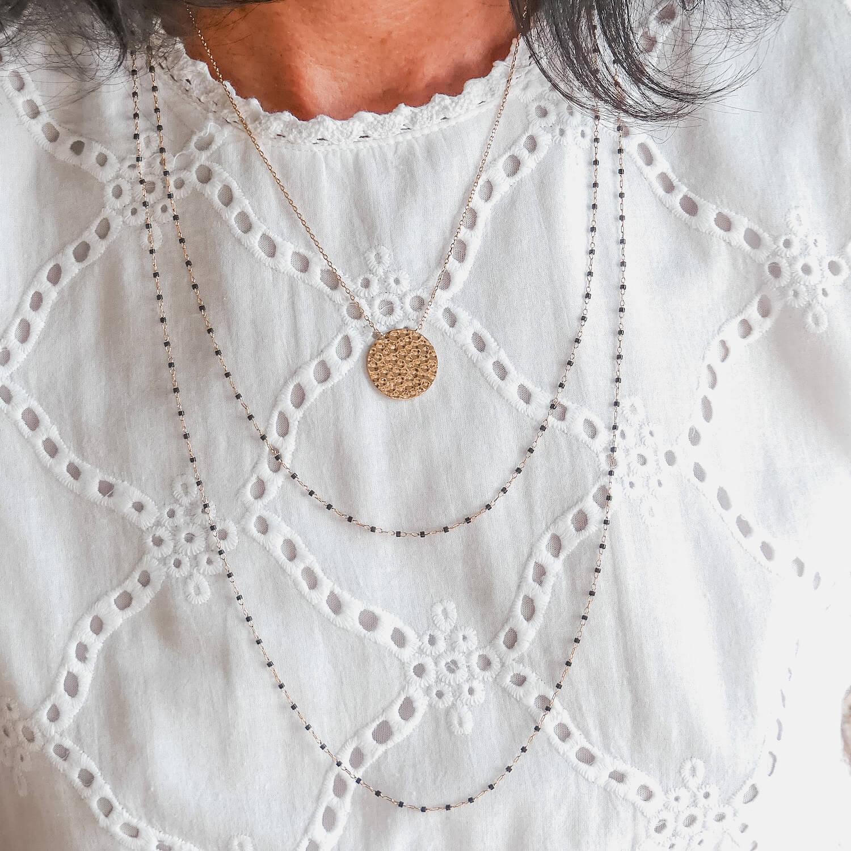 Collier long petites perles noir Jana - Cénélia