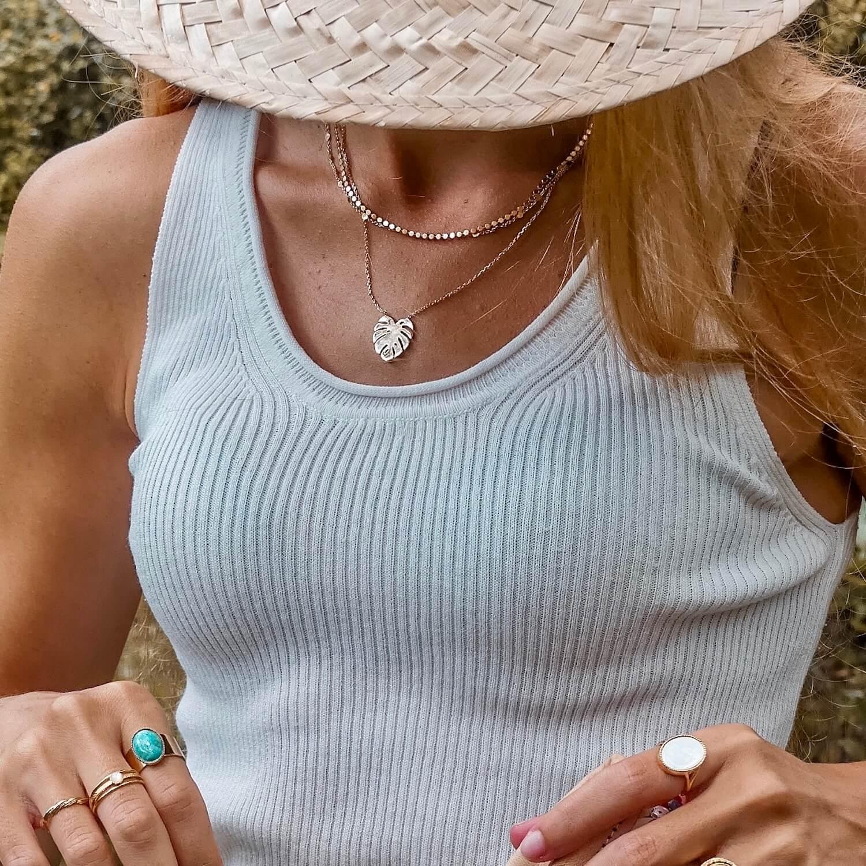 Colliers femme feuille de monstera - Colliers or résistants - Cénélia
