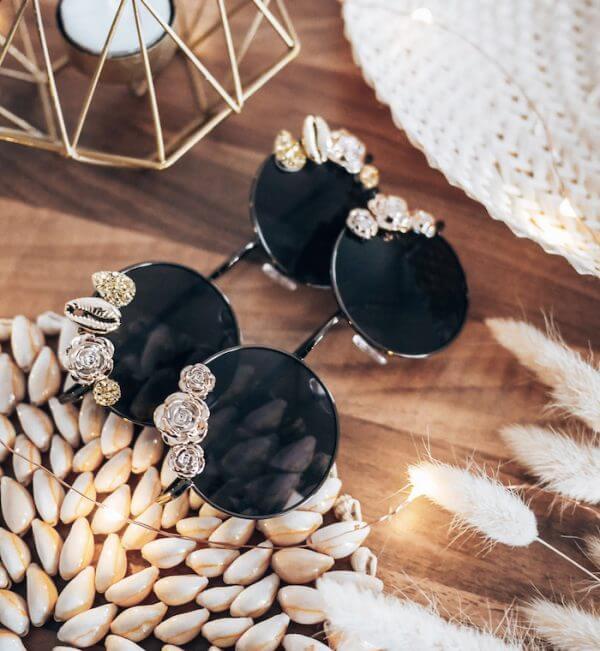 Lunettes de soleil à fleurs dorées - lunettes solaires mode femme fabrication française - Cénélia - Coline