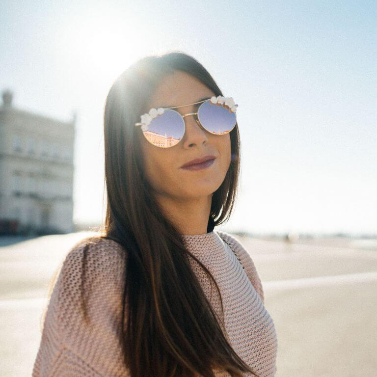 Lunettes de soleil bohème - lunettes roses mariage - Cénélia - Solène