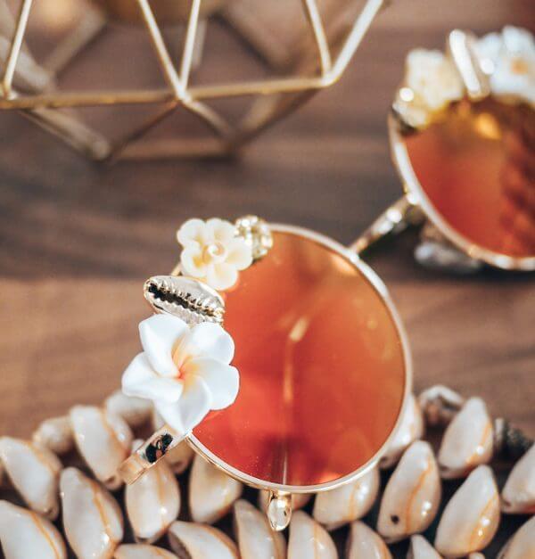 Lunettes de soleil polarisées tendance - lunettes rondes à fleurs - Sophia - Cénélia
