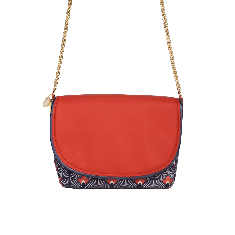 Petit sac vegan - sac bandoulière femme chic - Bleu corail - Cénélia