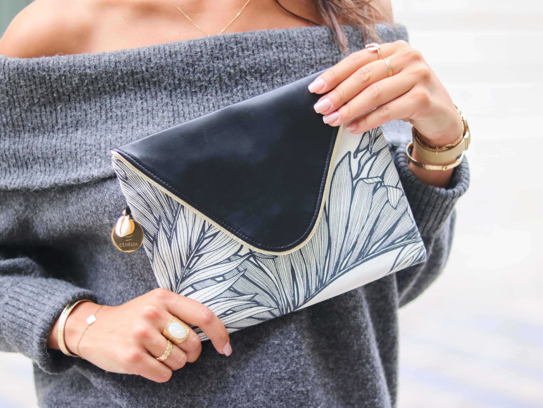 Pochette noir et or | Pochette mode femme | Pochette mariage | Pochette soirée chic | Coconut by Cénélia