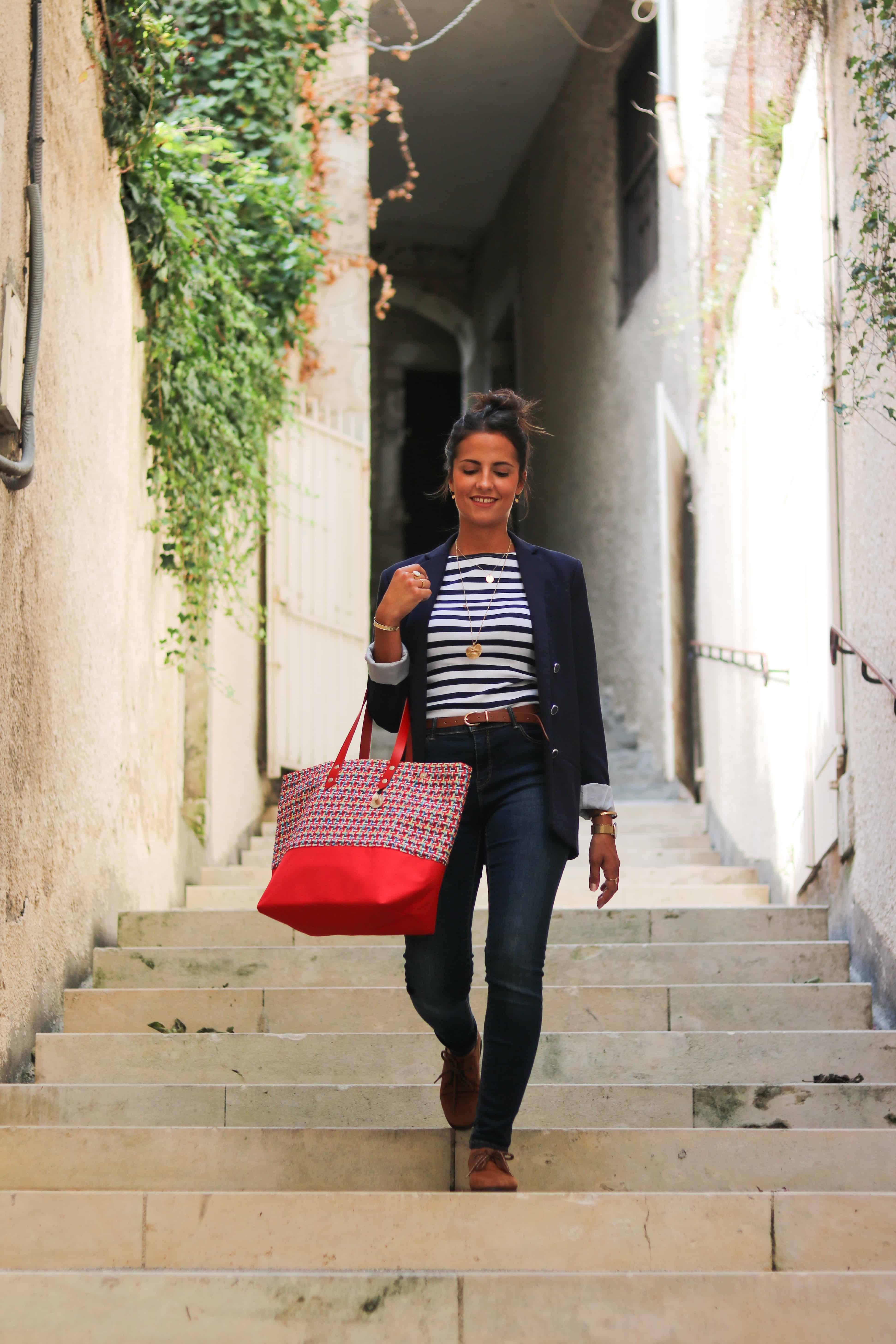 Sac cabas en tweed Sarah   sac à main personnalisé   Cénélia