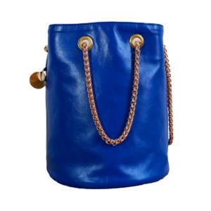 Sac seau bleu Klein - Sac rond mode femme fait en France - Zoé - Cénélia