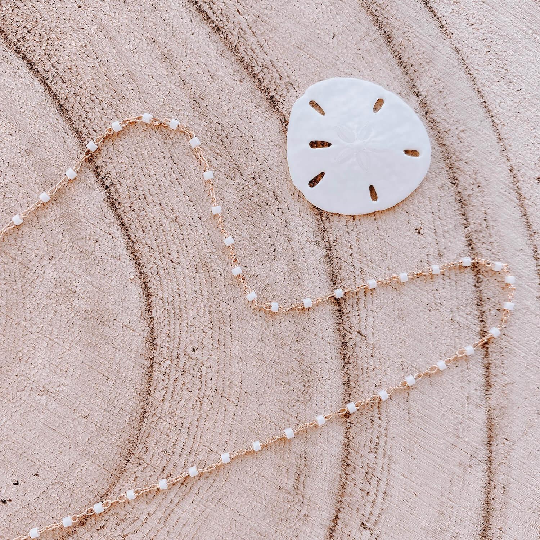 Sautoir Jana - Collier perles blanches long fin femme Martinique - Cénélia