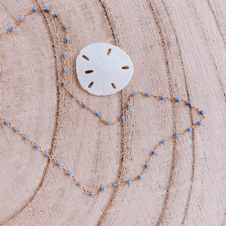 Sautoir Jana - Collier perles bleu long fin femme Martinique - Cénélia