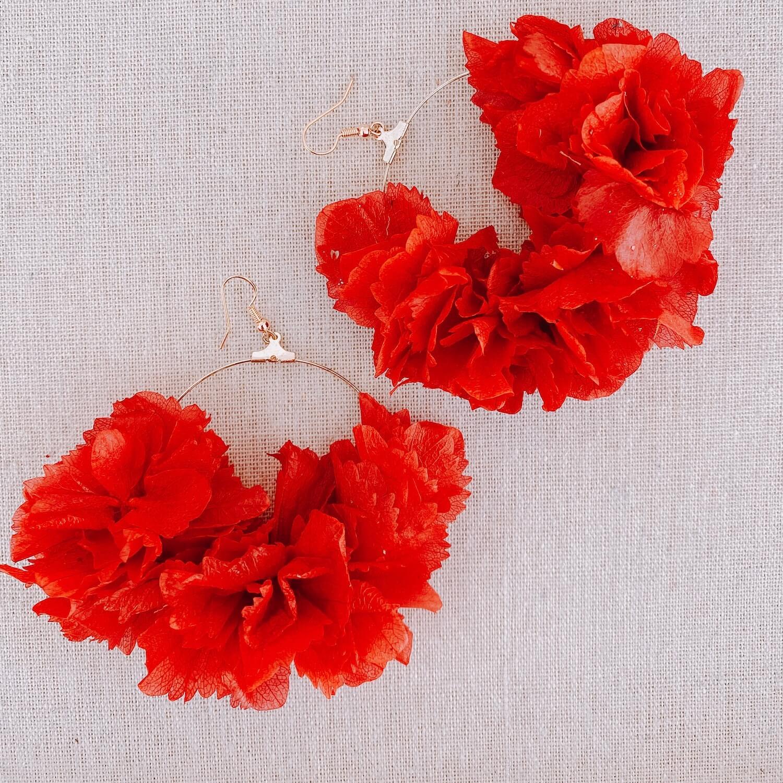 boucles Eleuthera - boucles d oreilles en vraies fleurs stabilisées Cénélia - Martinique