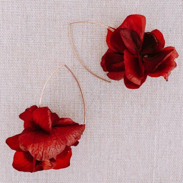 boucles Guana - boucles d oreille en vraies fleurs naturelles Cénélia Martinique