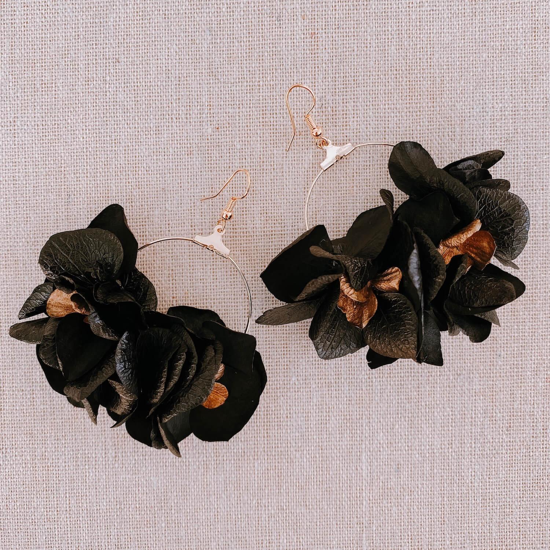 boucles La Orchila - boucles d oreille hortensia fleur stabilisée - Cénélia Martinique