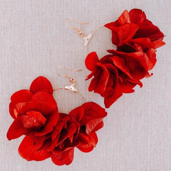 boucles Mayreau - boucles d oreilles fleur hortensia stabilisé Cénélia Martinique