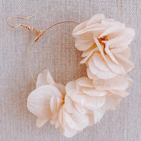 boucles Paradise Island - boucles d oreilles fleurs hortensia Cénélia Martinique