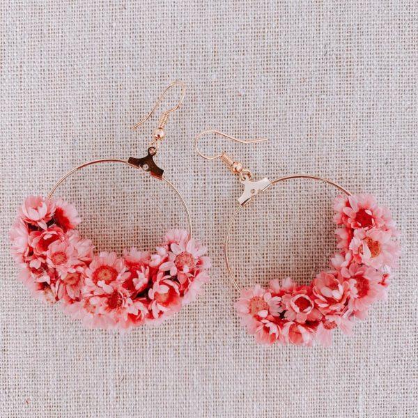 boucles Water Island - boucles d oreilles en fleurs séchées Cénélia Martinique