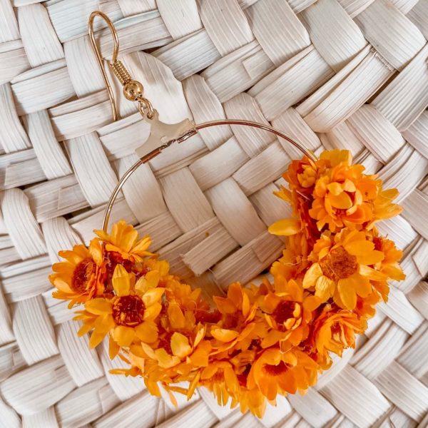 boucles d oreilles en fleurs séchées Cénélia Martinique - Trois Rivières