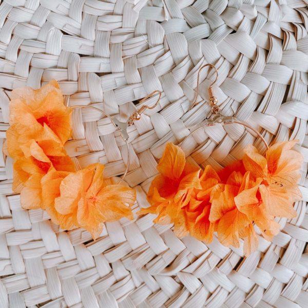boucles d oreilles en vraies fleurs Martinique Cénélia - Régina
