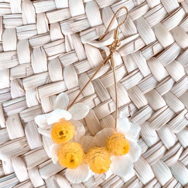 boucles d oreilles fleurs éternelles Cénélia Martinique - Anses d'Arlet