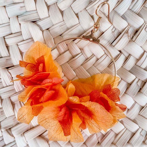 boucles d'oreilles Martinique en fleurs orange - Cénélia bijoux