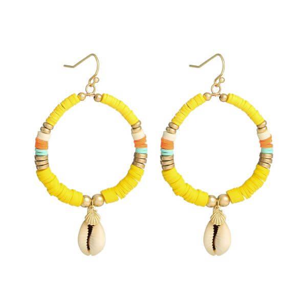 boucles d'oreilles perles heishi - boucles oreille surfeuse jaune - Cénélia