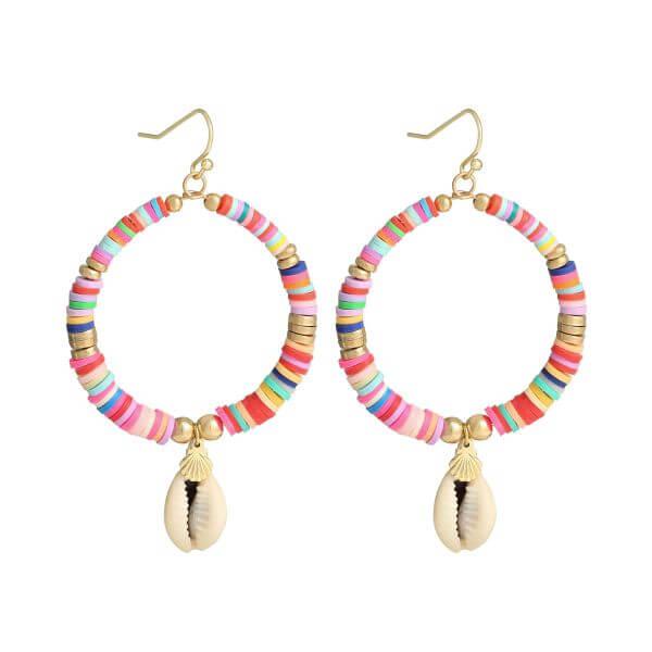 boucles d'oreilles perles heishi - boucles oreille surfeuse multicolore - Cénélia