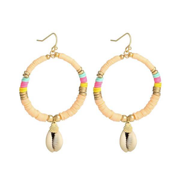 boucles d'oreilles perles heishi - boucles oreille surfeuse saumon - Cénélia