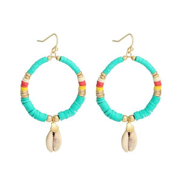 boucles d'oreilles perles heishi - boucles oreille surfeuse vert - Cénélia