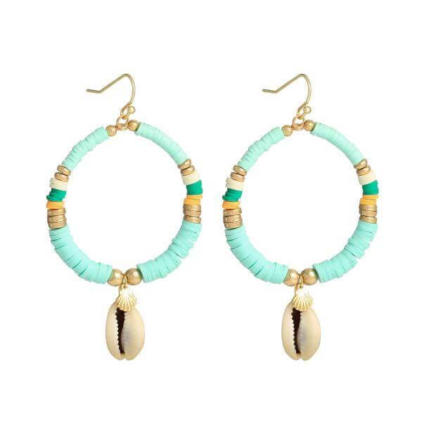 boucles d'oreilles perles heishi - boucles oreille surfeuse vert pâle - Cénélia