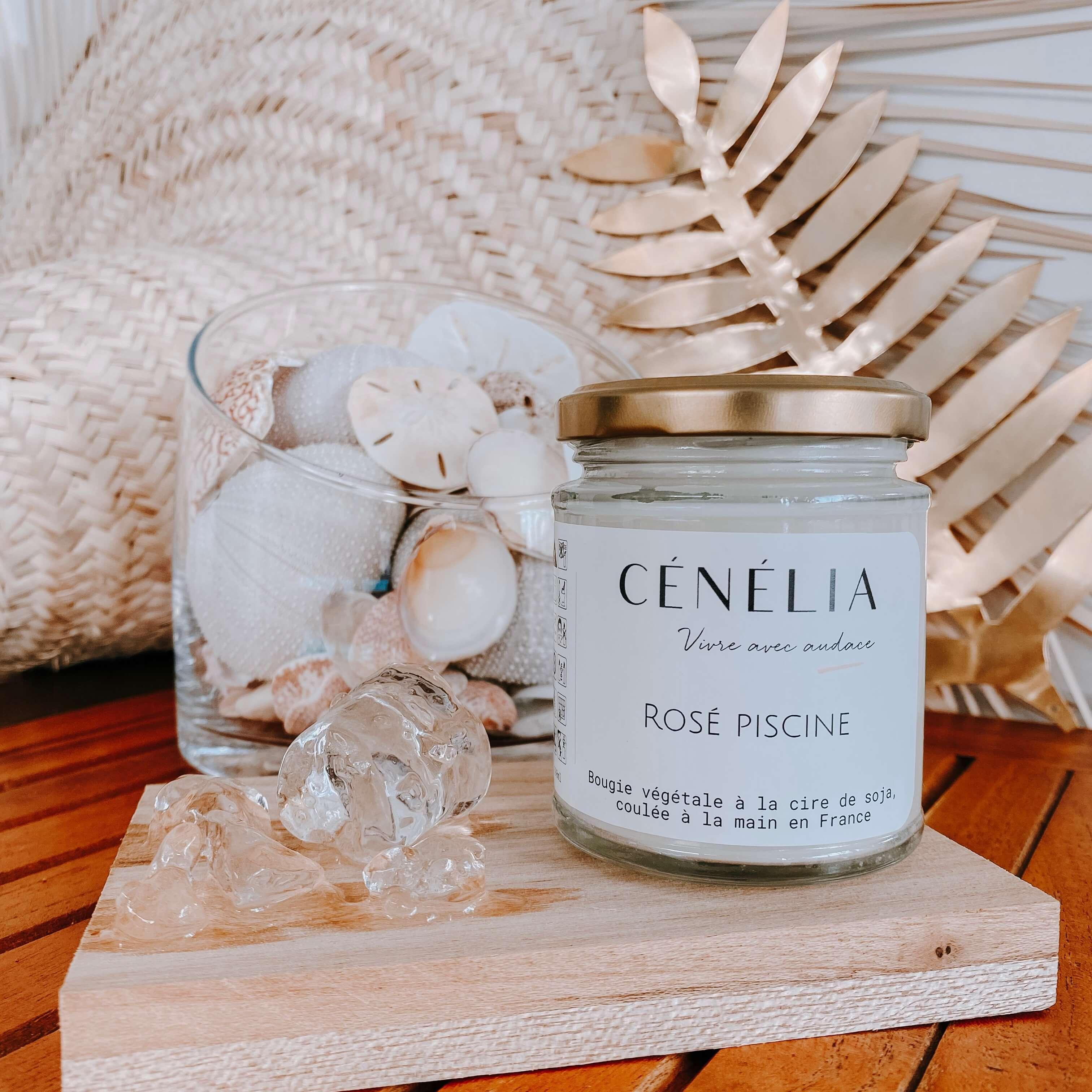 bougie bio parfumée cire de soja - Bougie rosé piscine Cénélia