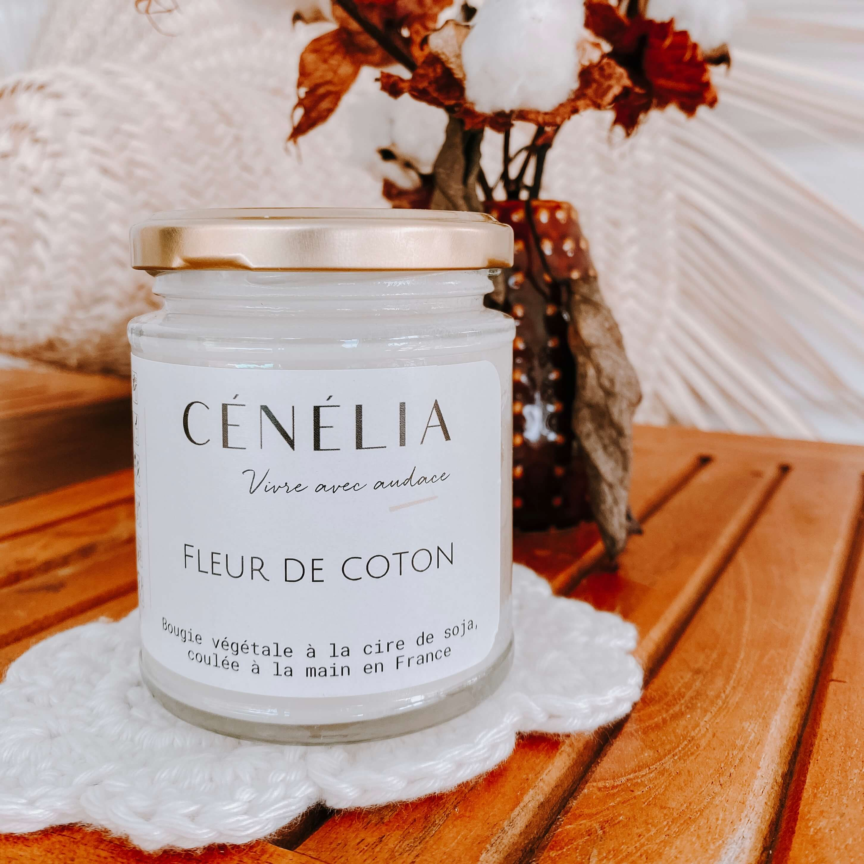 bougie fleur de coton - bougie parfumée légère Cénélia